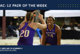 Washington's Crissy Jones and Tia Scambray were voted Pac-12 Beach Volleyball Pair of the Week