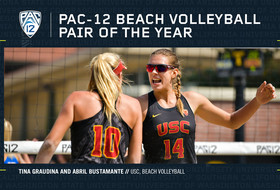 USC's Tina Graudina and Abril Bustamante are voted 2019 Pac-12 Beach Volleyball Pair of the Year.