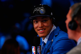 Aaron Gordon of Arizona smiles during an interview after being drafted with the #4 overall pick by the Orlando Magic during the 2014 NBA Draft at Barclays Center on June 26, 2014 in the Brooklyn borough of New York City.