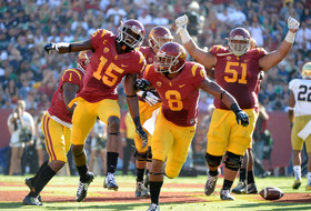"<ul><li><a href=""http://pac-12.com/videos/highlights-cody-kesslers-six-touchdown-passes-help-usc-football-trounce-notre-dame"">USC worked Notre Dame at the Coliseum on Saturday</a>, reclaiming the Jeweled Shillelagh after two consecutive losses to the Irish</li> <li><a href=""http://pac-12.com/article/2014/11/29/cody-kessler-usc-vs-notre-dame"">Cody Kessler threw for six touchdown passes</a>, making him the first player <em>ever </em>to do so against Notre Dame</li> <li><a href=""http://pac-12.com/article/2014/11/29/usc-defense-dominates-against-notre-dame"">USC's defense stifled both ND quarterbacks</a>, allowing them to combine for only 16 of 38 passes</li> </ul>"