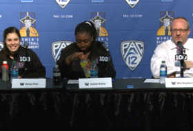 Washington's Kelsey Plum reacts to moving up the all-time Pac-12 scoring list