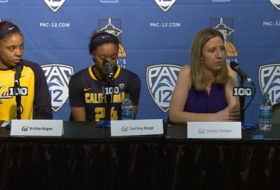 Cal head coach Lindsay Gottlieb holds back tears after heartbreaking overtime loss