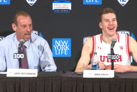 2016 Pac-12 Men's Basketball Tournament: Utah's Larry Krystkowiak talks about Jakob Poeltl – in an Austrian accent