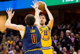 Golden State's Klay Thompson and Cleveland's Kevin Love