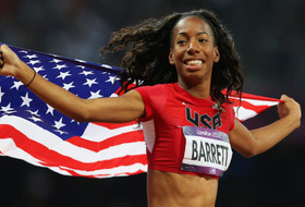 <p>Barrett picked a good time to achieve a personal best in the high jump, clearing 2.03m / 6-8 to earn an Olympic silver medal in London. She was the first American female high-jumper to medal in 24 years.</p>