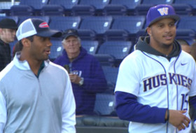 Video: Seahawks' Jermaine Kearse and Russell Wilson combine to throw first pitch at Washington baseball game