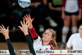 <p>Stanford women's volleyball player Carly Wopat vs. USC in 2012.</p>