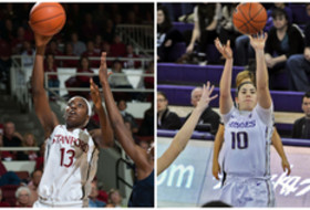 <p>Pac-12 Women's Basketball Player of the Week Chiney Ogwumike (Stanford) and Freshman of the Week Kelsey Plum (Washington)</p>