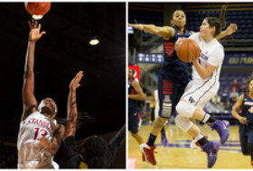 <p>Stanford's Chiney Ogwumike and Washington's Kelsey Plum were voted the Pac-12 Women's Basketball Players of the Week again.</p>