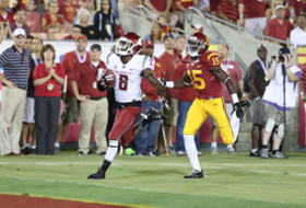 <p>Washington State's Damante Horton against USC on Saturday, September 7th, 2013</p>