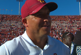 USC football head coach Clay Helton on beating ranked Colorado: 'I can't say enough about our defense'