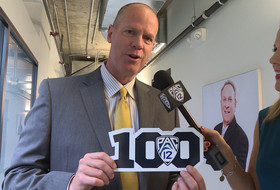 Tad Boyle and Ashley Adamson at 2015 Pac-12 Men's Basketball Media Day