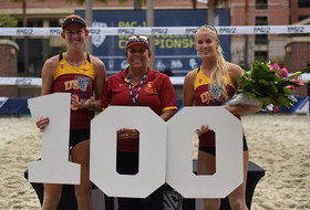 2016 Pac-12 Beach Volleyball Pairs Champions Kelly Claes and Sara Hughes of USC
