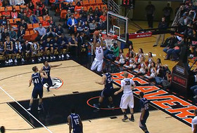 Oregon State's Malcolm Duvivier throws down big alley-oop