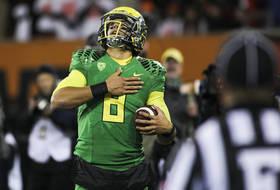 Oregon's Marcus Mariota explains his 'heart tap' touchdown celebration