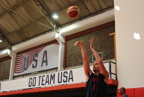Klay Thompson, formerly of Washington State, in a practice at the Rio Olympics.