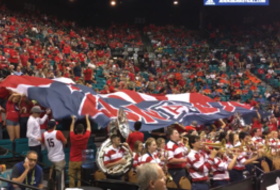Arizona fans reveal 'Zona Zoo' flag at 2016 Pac-12 Men's Basketball Tournament