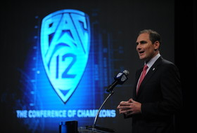 <p>Pac-12 Commissioner, Larry Scott, talks about player safety and the Pac-12 Networks at the 2013Football Media Day on Friday.</p>