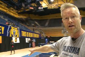 Cal head gymnastics coach gives Championships floor tour