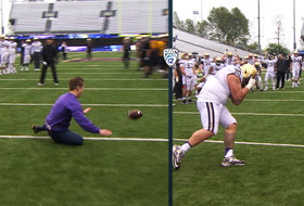 Video: Students, linemen try out to become Washington's next punt returner