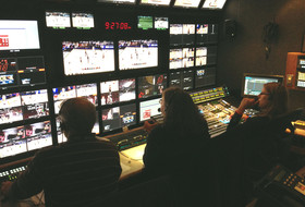 Inside the Networks' production truck at the Pac-12 Women's Basketball Tourmament