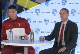 2014-15 Pac-12 Men's Basketball Media Day: USC's Andy Enfield & Nikola Jovanovic
