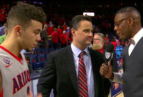Arizona's Gabe York and Sean Miller after Miller's 300th career win