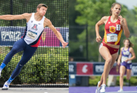 Decathlon winner Pau Tonnesen from Arizona and Heptathlon winner Amalie Iuel from USC.