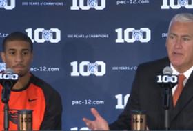 2015 Pac-12 Men's Basketball Media Day: Oregon State's Wayne Tinkle and Gary Payton II