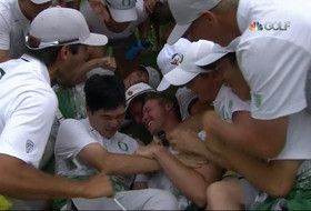 NCAA Men's Golf Championship: Oregon Ducks' Sulman Raza makes title-clinching putt