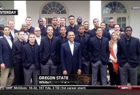 President Obama takes in Oregon State basketball in Maryland