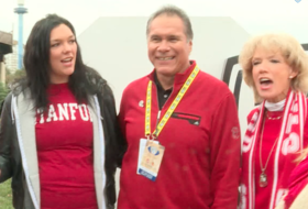 Jim Plunkett's family sings 'Happy Birthday' to him before the Pac-12 Championship game