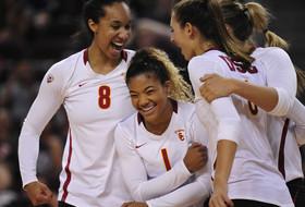 USC volleyball celebrates