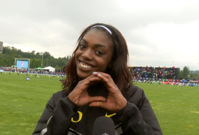 Oregon's Sasha Wallace on 100M hurdle win: 'I just really wanted to help my team'