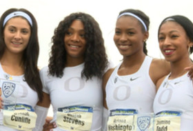 Highlight: Oregon women set Pac-12 championship meet record in 4x100 relay