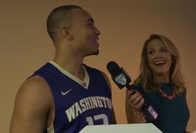 2015 Pac-12 Men's Basketball Media Day: Washington's Andrew Andrews and Lorenzo Romar celebrate the Pac-12 Centennial