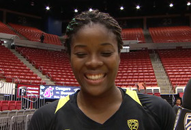Oregon's Jillian Alleyne after tying the Oregon record for career double-doubles
