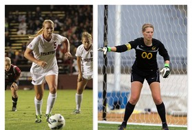<p>Stanford ForwardCourtney Verloo and California GoalkeeperEmily Kruger</p>