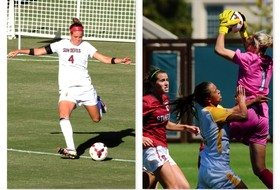 <p>2013 Women's Soccer Player of the Week (Sept 23-29) . Devin Marshall, ASU; Jane Campbell, STAN</p>