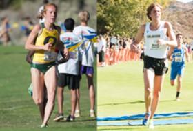 <p>Oregon's Allie Woodward and Colorado's Morgan Pearson</p>