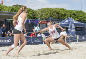 Stanford's Kathryn Plummer and Jenna Gray at the Pac-12 Beach Volleyball Championships pairs tournament.