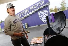 Andrew Morrison treats his Washington men's soccer teammates to BBQ feast