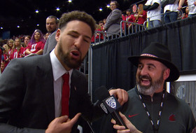Klay Thompson crashes new Washington State football head coach Nick Rolovich's interview and promises Rose Bowl championship