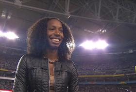 Arizona track & field star sings national anthem