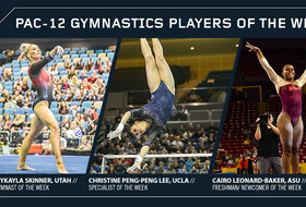 Consecutive Pac-12 gymnastics weekly honors for Skinner, Peng-Peng Lee, newcomer of the week Leonard-Baker earns first honor