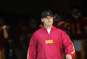 <p>29 October 2005: USC Trojans Assistant Head Coach Steve Sarkisian enters the field from the tunnel before a 55-13 win over the Washington State Cougars at the Los Angeles Memorial Coliseum, CA. Pac-10 College Footba</p>
