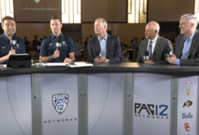 2019 Pac-12 Football Media Day: Steve Hill, Marc Badain and George Kliavkoff discuss the Football Championship Game's move to Las Vegas
