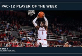 Davis leads Stanford to road sweep for Pac-12 men's hoops weekly honor