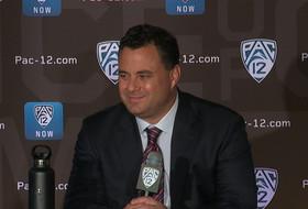 2019 Pac-12 Men's Basketball Media Day: Arizona's Sean Miller podium