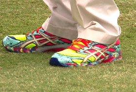Cal fan wears colorful shoes at Pac-12 Championships